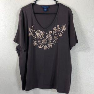 Karen Scott Tee Top Short Sleeve Brown Size 3X